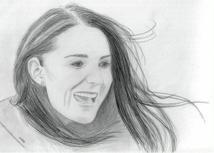 Kate Middleton Greeting Card featuring the drawing Kate Middleton - Duchess Of Cambridge by Pat Moore
