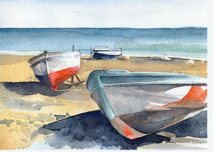 Sea Greeting Card featuring the painting Kevin Y Rolan by Stephanie Aarons