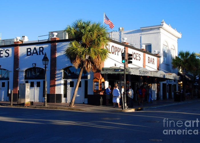 Key West Greeting Card featuring the photograph Key West Bar Sloppy Joes by Susanne Van Hulst