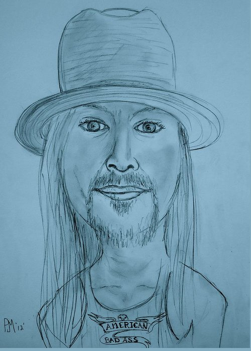 Kid Rock Greeting Card featuring the drawing Kid Rock by Pete Maier