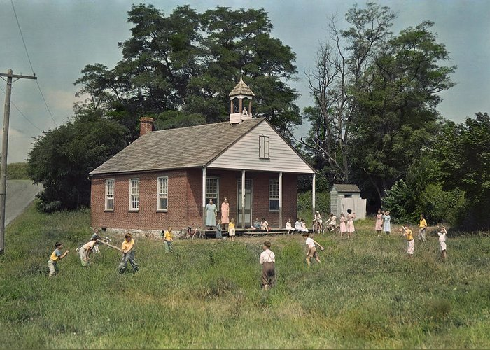 Period Photography Greeting Card featuring the photograph Kids Play Baseball During Recess by J. Baylor Roberts