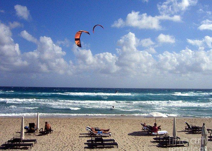 Beach Greeting Card featuring the photograph Kite Boarding In Boca Raton Florida by Merton Allen