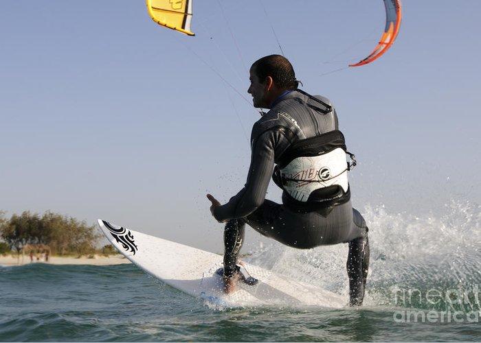 Kitesurfing Greeting Card featuring the photograph Kitesurfing Board by Hagai Nativ