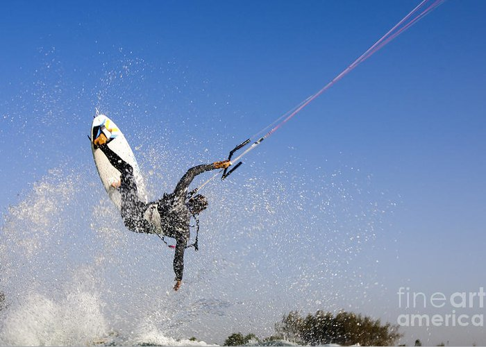Kitesurfing Greeting Card featuring the photograph Kitesurfing by Hagai Nativ