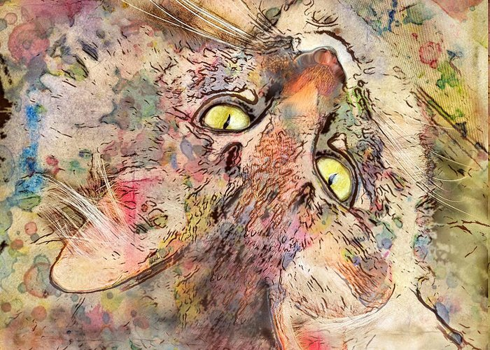 Cats Greeting Card featuring the digital art Kitty Fluffs by Marilyn Sholin