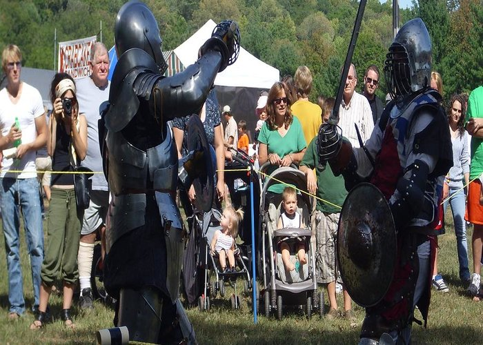 Knights Fighting Greeting Card featuring the photograph Knights Saber Fighting by Eileen Szydlowski