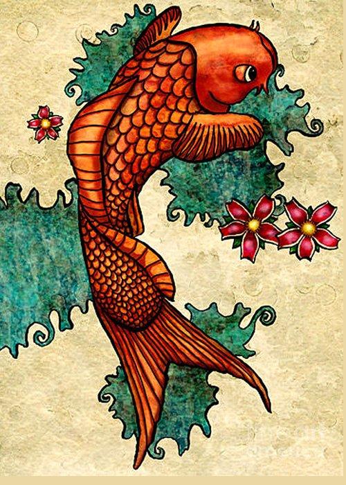 Fish Greeting Card featuring the mixed media Koi by Lara Ekblad
