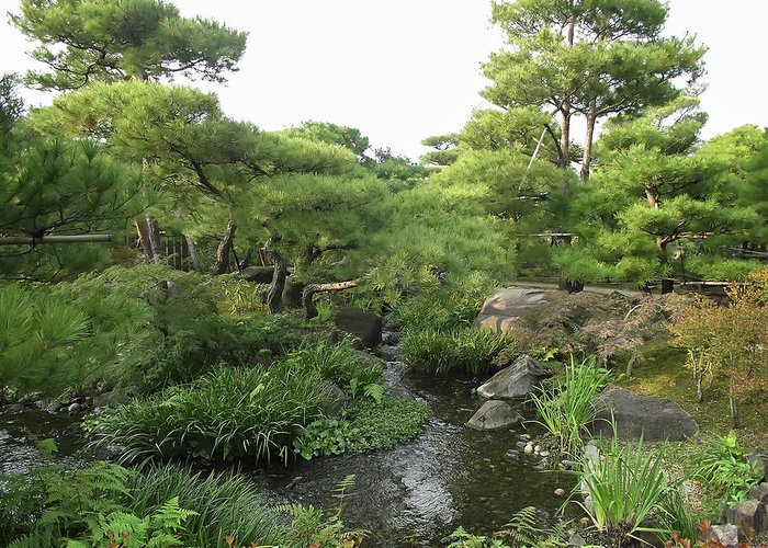 Japan Greeting Card featuring the photograph Kokoen Samurai Gardens - Himeji City Japan by Daniel Hagerman