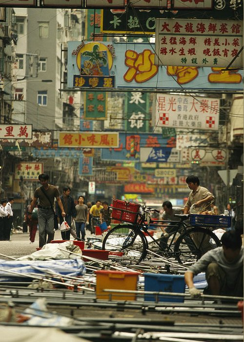 Asia Greeting Card featuring the photograph Kowloon Street With Workers Setting by Justin Guariglia