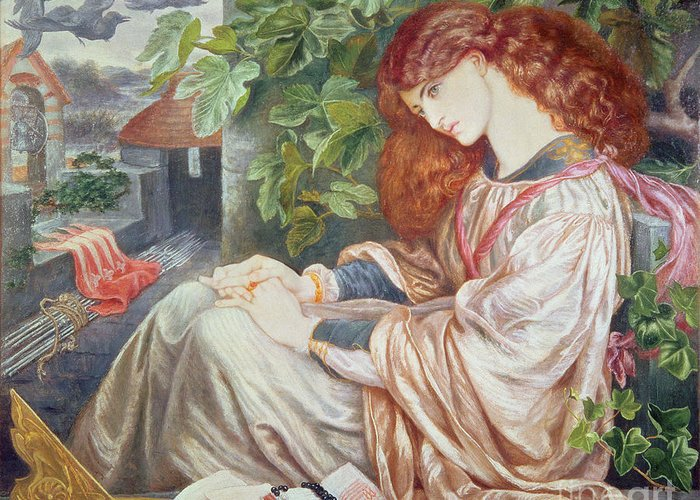 Pre-raphaelite; Woman; Female; Sundial; Crows; Prison; Imprisoned; Rosary; Jane Morris; Book; Fig Tree; Pious Greeting Card featuring the painting La Pia De Tolomei by Dante Charles Gabriel Rossetti