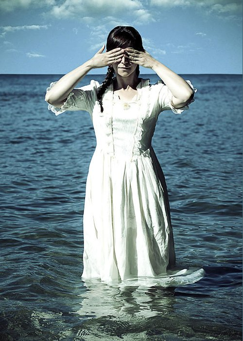 Female Greeting Card featuring the photograph Lady In Water by Joana Kruse