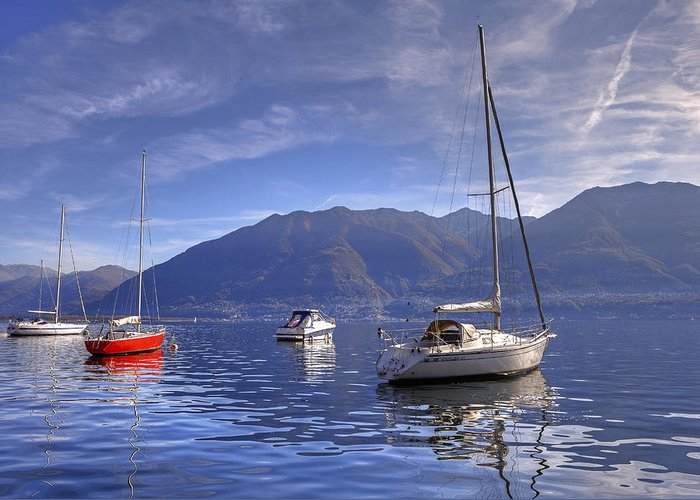 Sail Boats Greeting Card featuring the photograph Lago Maggiore by Joana Kruse