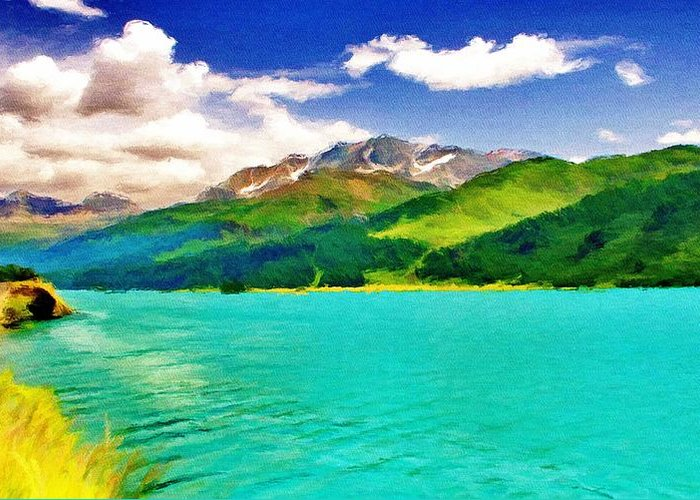 Lake Greeting Card featuring the painting Lake Sils by Jeff Kolker