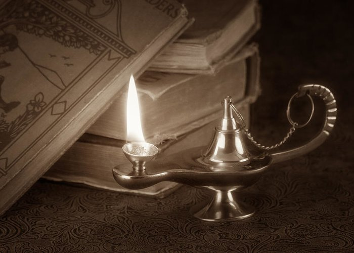 Lamp Greeting Card featuring the photograph Lamp Of Learning by Tom Mc Nemar