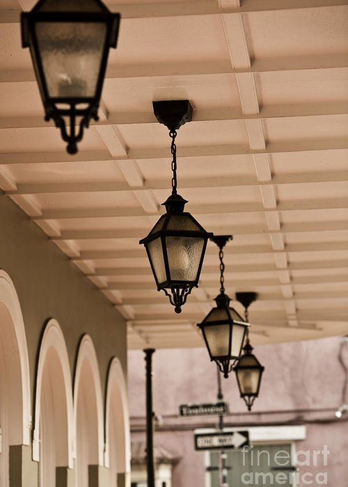 New Orleans Greeting Card featuring the photograph Lamps by Leslie Leda