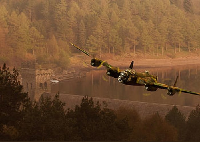 Dambusters Greeting Card featuring the photograph Lancaster Over The Dams by Nigel Hatton