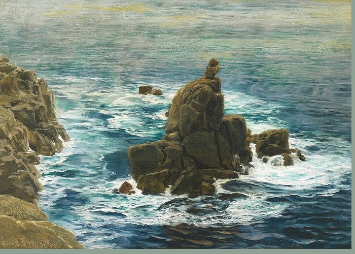 Land's End Greeting Card featuring the painting Land's End by John Brett
