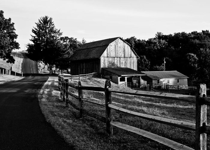 Barn Greeting Card featuring the photograph Langus Farms Black And White by Jim Finch