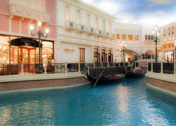 Dreamy Water And Gondola Greeting Card featuring the digital art Las Vegas Gondola by Susan Stone
