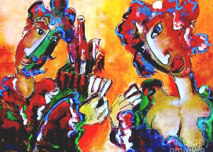 Artist Greeting Card featuring the painting Laubar - Pokerface by Laurens Barnard