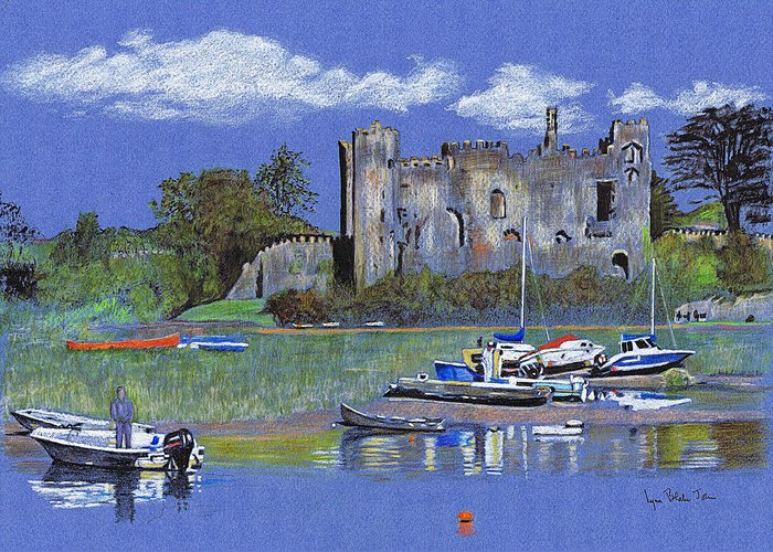 Laugharne Greeting Card featuring the drawing Laugharne Castle by Lynn Blake-John
