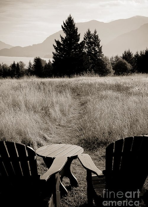 Landscape Greeting Card featuring the photograph Lawn Chair View Of Field by Darcy Michaelchuk