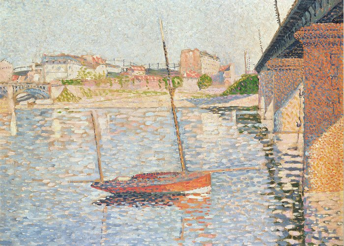Clipper Greeting Card featuring the painting Le Clipper - Asnieres by Paul Signac