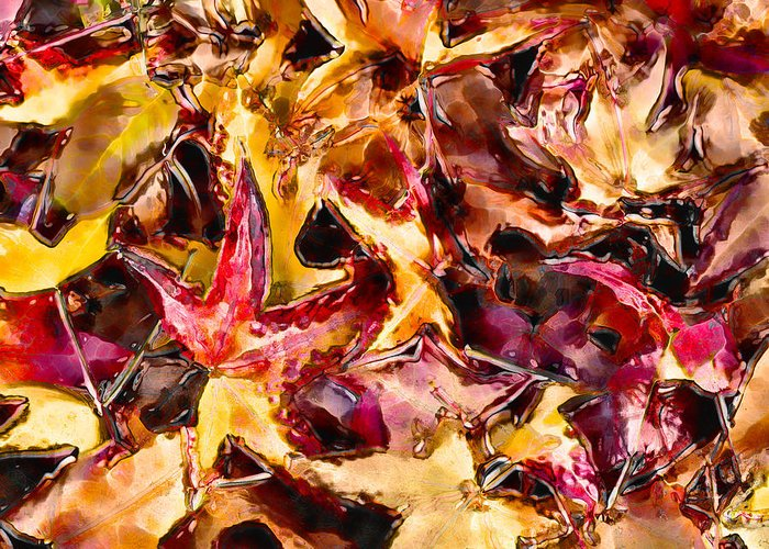 Glass Greeting Card featuring the digital art Leaves Of Glass by Marilyn Sholin