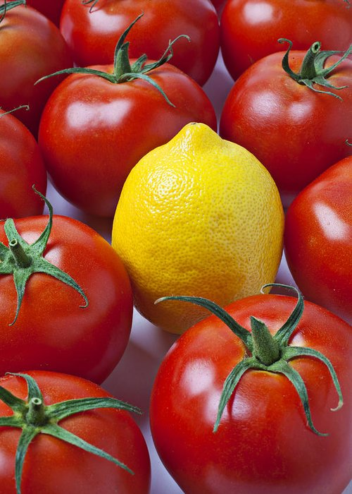 Lemon Greeting Card featuring the photograph Lemon And Tomatoes by Garry Gay