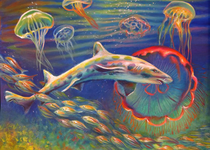 Leopard Shark Greeting Card featuring the painting Leopard Shark And Jellyfish by Nancy Tilles