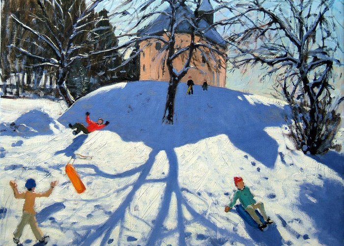 French Landscape Greeting Card featuring the painting Les Gets by Andrew Macara