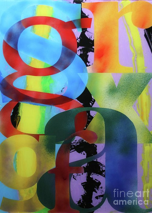 Abstract Greeting Card featuring the painting Letterforms 1 by Mordecai Colodner