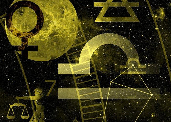 Horoscope Greeting Card featuring the digital art Libra by JP Rhea