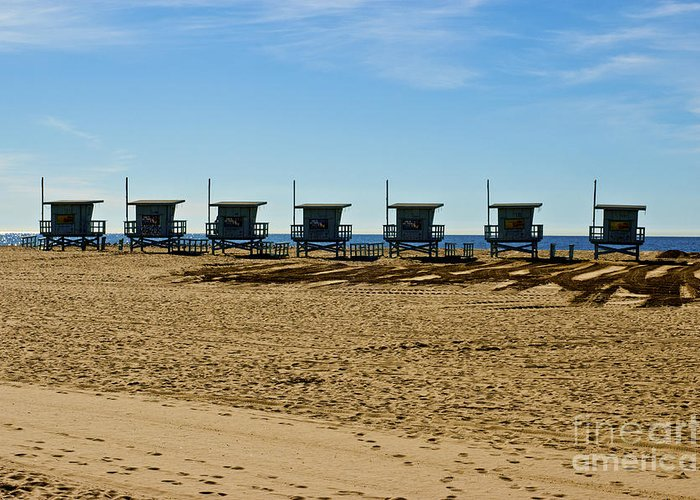 Malibu Greeting Card featuring the photograph Lifeguard Stand's On The Beach by Micah May