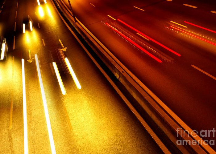 Asphalt Greeting Card featuring the photograph Light Trails by Carlos Caetano