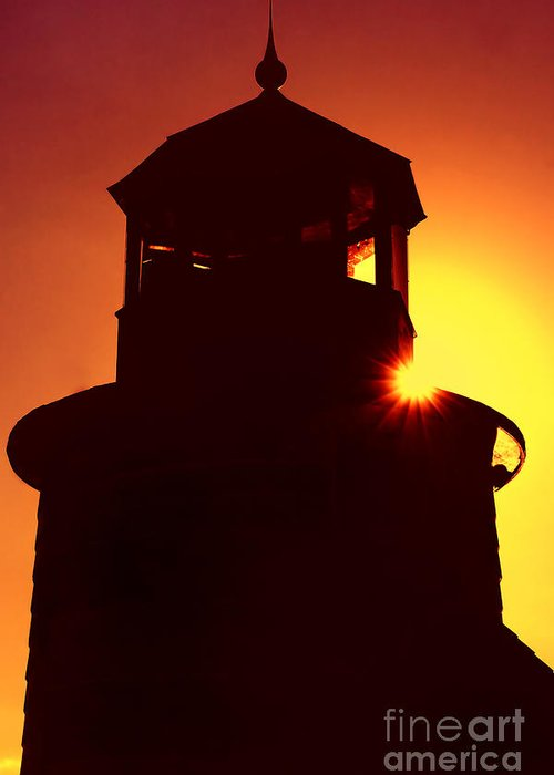 Lighthouse Greeting Card featuring the photograph Lighthouse Sunset by Joann Vitali