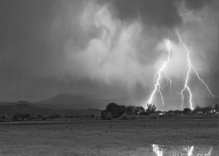 Awesome Greeting Card featuring the photograph Lightning Striking Longs Peak Foothills 8cbw by James BO Insogna
