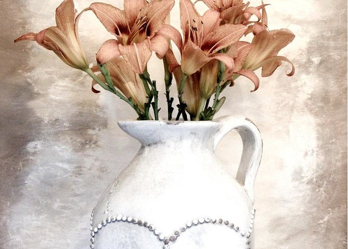 Photo Greeting Card featuring the photograph Lilies Pitcher by Marsha Heiken