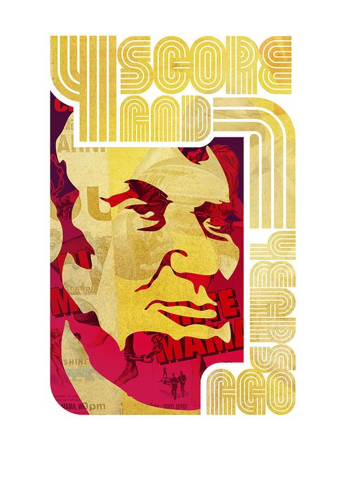 Typography Greeting Card featuring the drawing Lincoln 4 Score On White by Jeff Steed