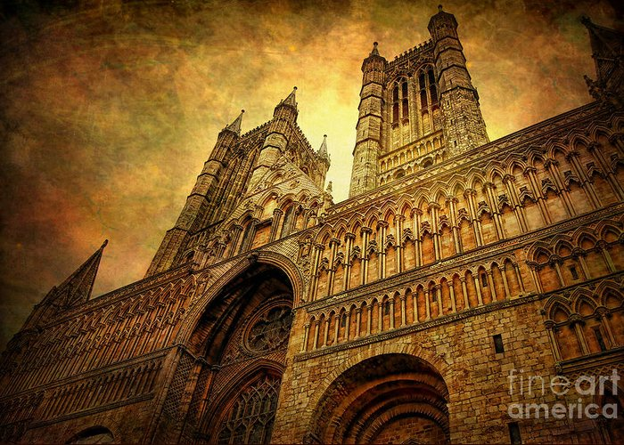 Yhun Suarez Greeting Card featuring the photograph Lincoln Cathedral by Yhun Suarez