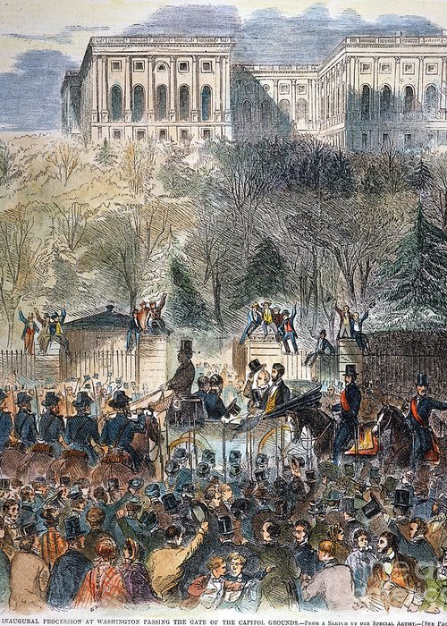 1861 Greeting Card featuring the photograph Lincoln Inauguration by Granger