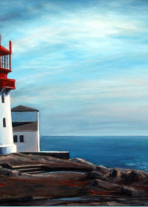 Lighthouse Greeting Card featuring the painting Lindesnes Lighthouse by Janet King