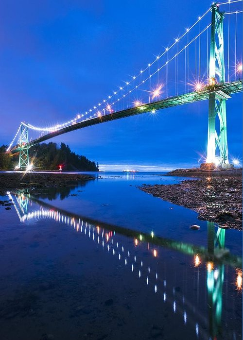 Lions Gate Bridge Greeting Card featuring the photograph Lions Gate Bridge, Vancouver, Canada by David Nunuk