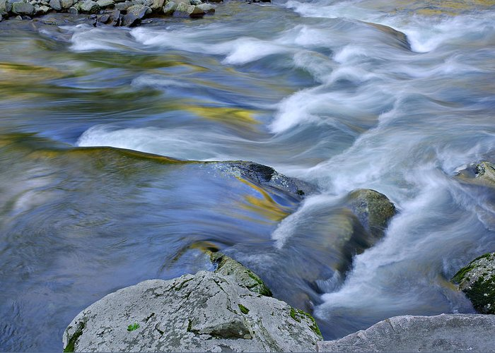 Blue Greeting Card featuring the photograph Little River Great Smoky Mountains by Dean Pennala