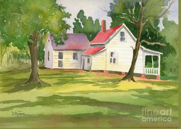 Farmhouse Greeting Card featuring the painting Little White Farmhouse by Diana Tyson