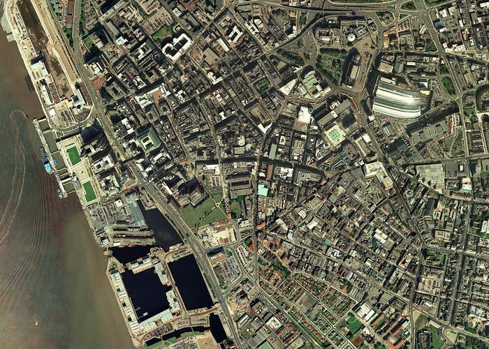 Mersey Greeting Card featuring the photograph Liverpool, Uk, Aerial Image by Getmapping Plc