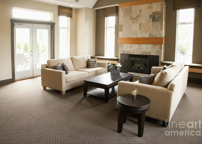 Architecture Greeting Card featuring the photograph Living Room In An Upscale Home by Shannon Fagan