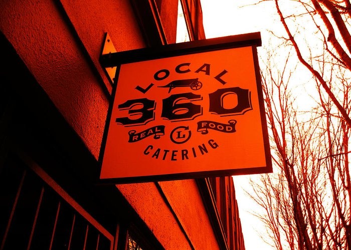 Cool Orange Sign Greeting Card featuring the photograph Local 360 In Orange by Kym Backland