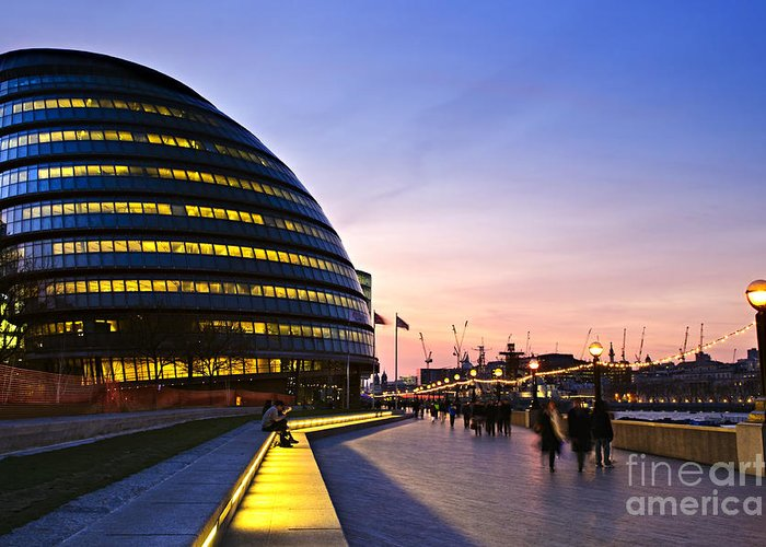 London Greeting Card featuring the photograph London City Hall At Night by Elena Elisseeva