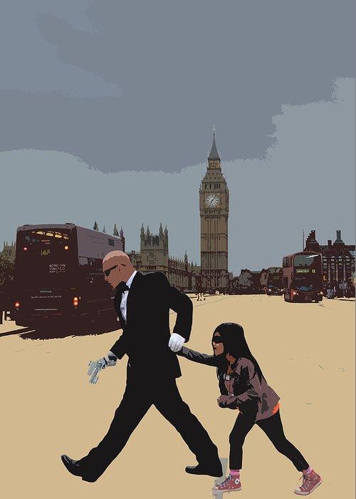Matrix Greeting Card featuring the photograph London Matrix Baddie Agent Smith by Jasna Buncic